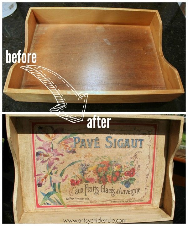 """Old Letter Tray -to- """"Vintage"""" French Fruit Tray - artsychicksrule.com #diy #craft #french"""