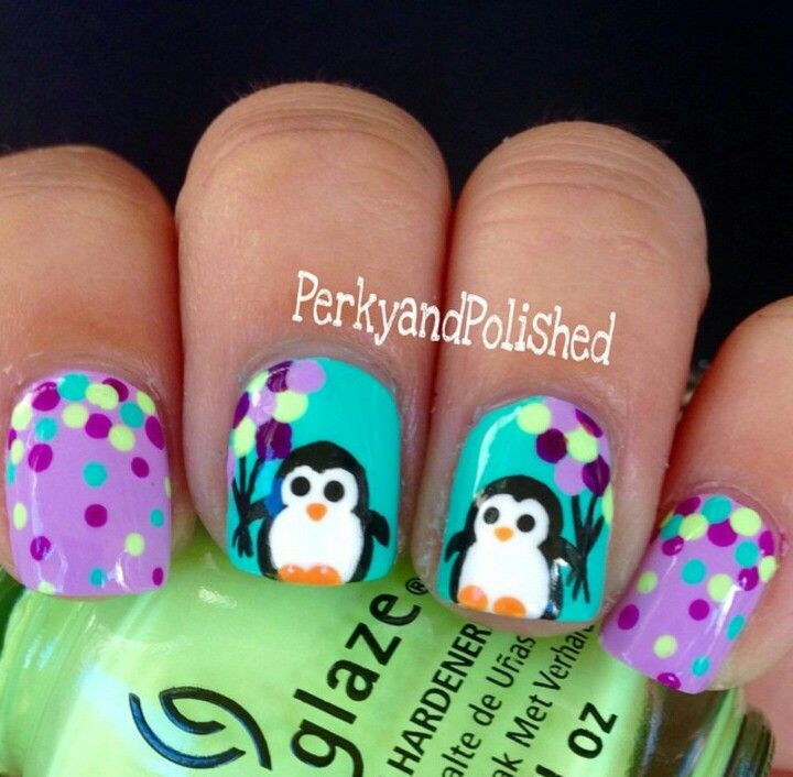 Adorable penguin & balloons nail art, dots #dotticure