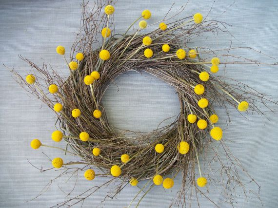 """I guess I forgot how much I love wreaths... And the fact that I get to say """"billy balls.""""(dried billy ball wreath)"""