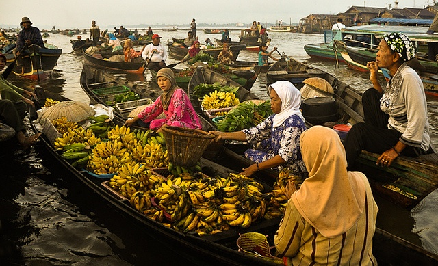 Floating market in indonesia