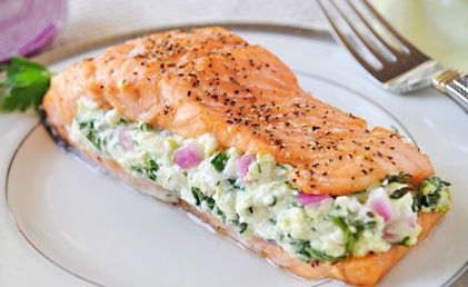 Simple Salmon with Feta Spinach Stuffing-faster to make than reservations! Never be intimidated by salmon again. #healthy #salmon www.hollyclegg.com