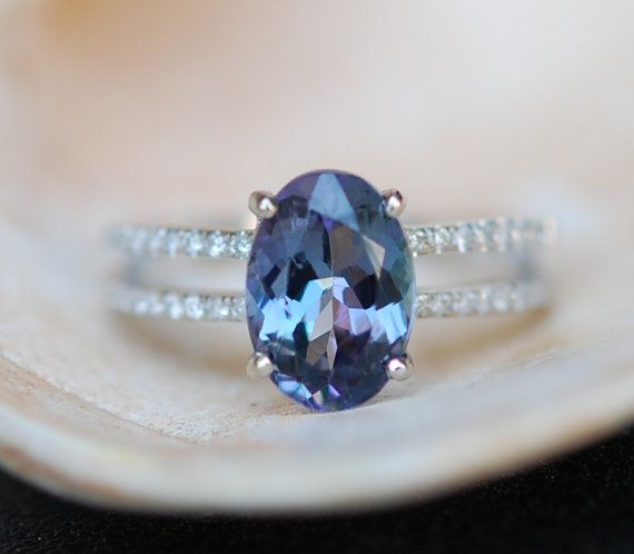 reserved - Engagement ring. Tanzanite ring. Peacock blue green Tanzanite 2.55ct Oval double band engagement ring 14k white gold.