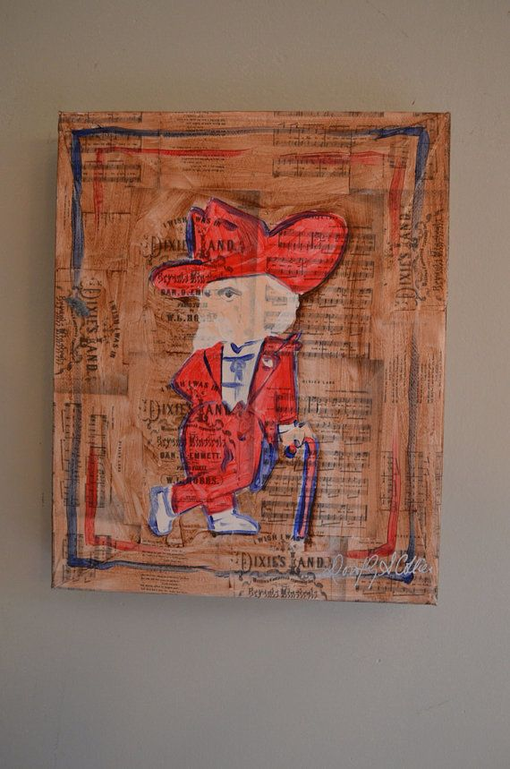 Ole Miss Col Reb Rebel painting on Dixie song on Etsy, $75.00