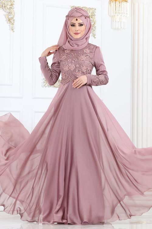 Modaselvim Abiye Inci Dantelli Sifon Abiye 8914w153 Gul Kurusu Muslim Fashion Dress Long Sleeve Bridesmaid Dress African Fashion Dresses