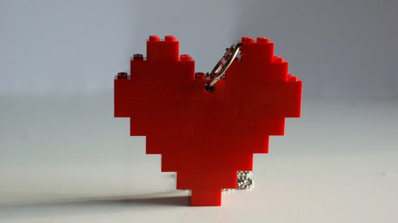 Large Heart Necklace, made from Genuine Lego Blocks, 8 Bit Jewelry. 12,89 €