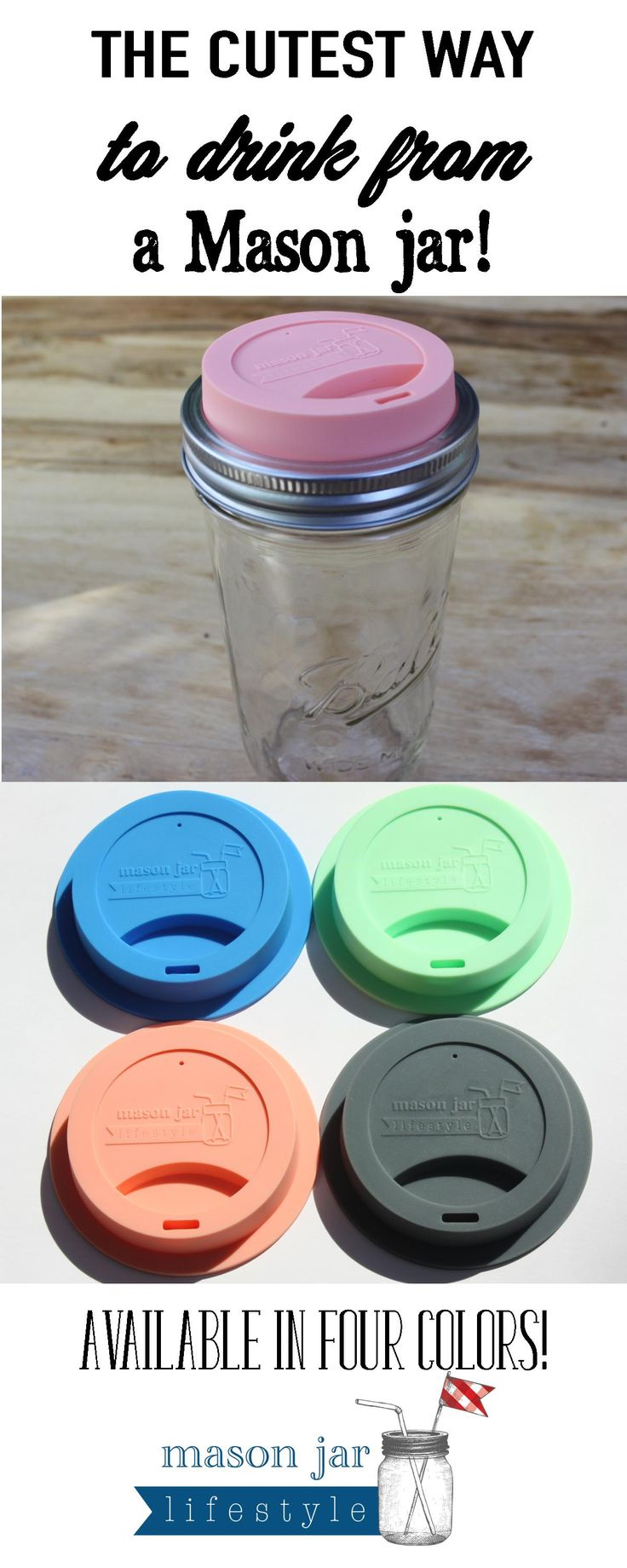 Turn any wide mouth Mason jar into a to-go cup with these adorable silicone drinking lids!