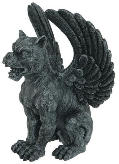 Medieval Decorative Figurine Statue Lioness with Eagle's Wings Gargoyle Sitting