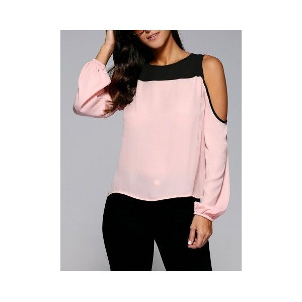 Cold Shoulder Contrast Trim Blouse ($11) ❤ liked on Polyvore featuring tops, blouses, cut shoulder tops, open shoulder top, cold shoulder blouse, cold shoulder tops and pink cold shoulder top