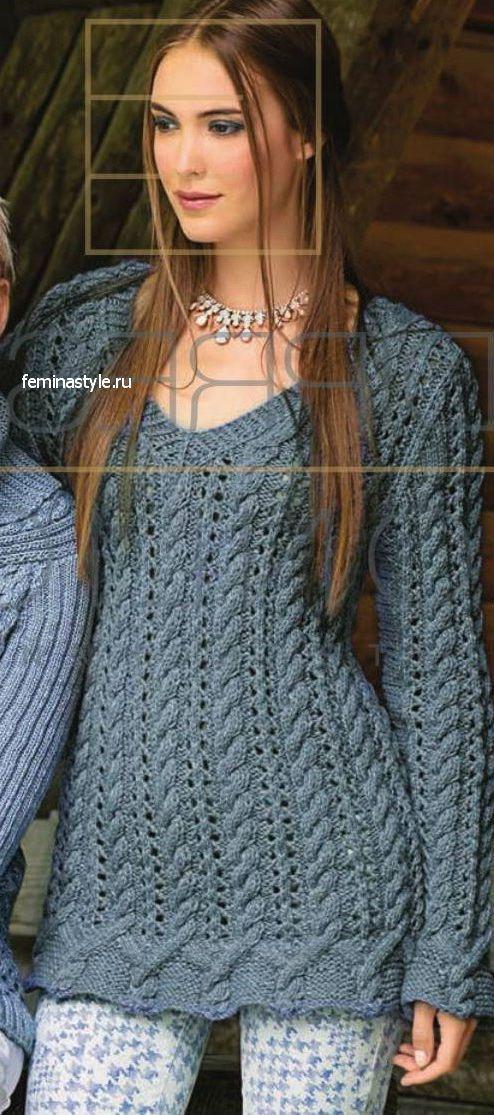 Ажурный пуловер с косами сицами: