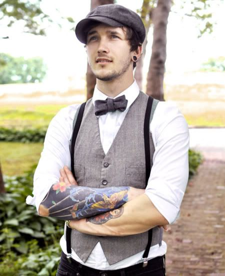 "Love the suspenders and ""newsie"" cap... just ditch the gauged earrings. Earrings on men never look right."
