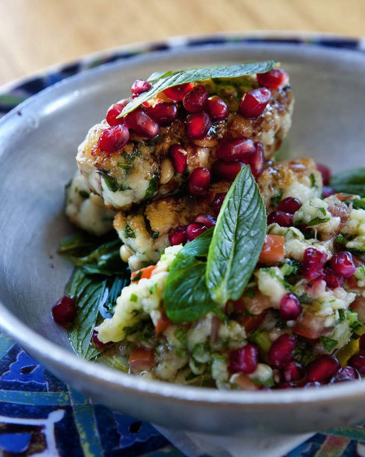 Fish kefta with baba ghanoush, mint and a pomegranate balsamic syrup from Kepos Street Kitchen.