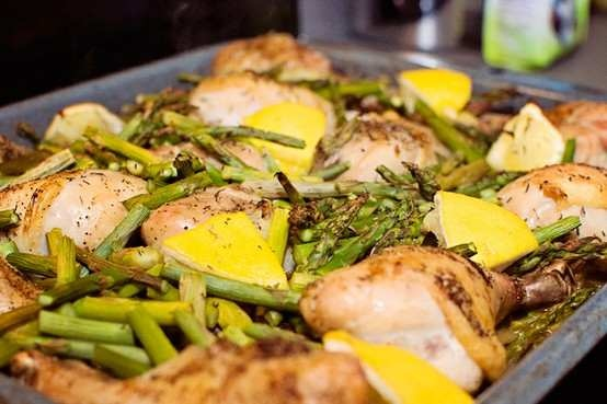 ROASTED CHICKEN WITH POTATOES, LEMON AND ASPARAGUS   food and drinks ...