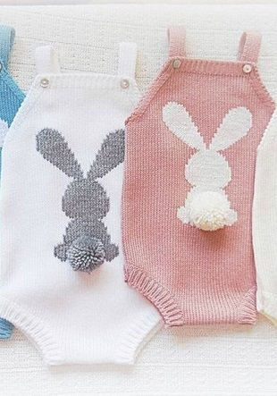 Schemes of cute bunnies, for knitting children's products. Bunnies with round fluffy tails arranged on a summer overall without sleeves for the smallest. Tails hares are made in the technique of making ordinary pompoms. On you can not overload the pr