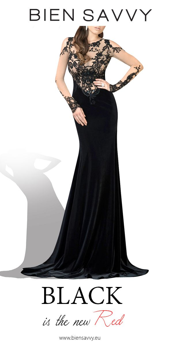 Black is the new Red.  Follow Your Confidence, black velvet evening dress by BIEN SAVVY