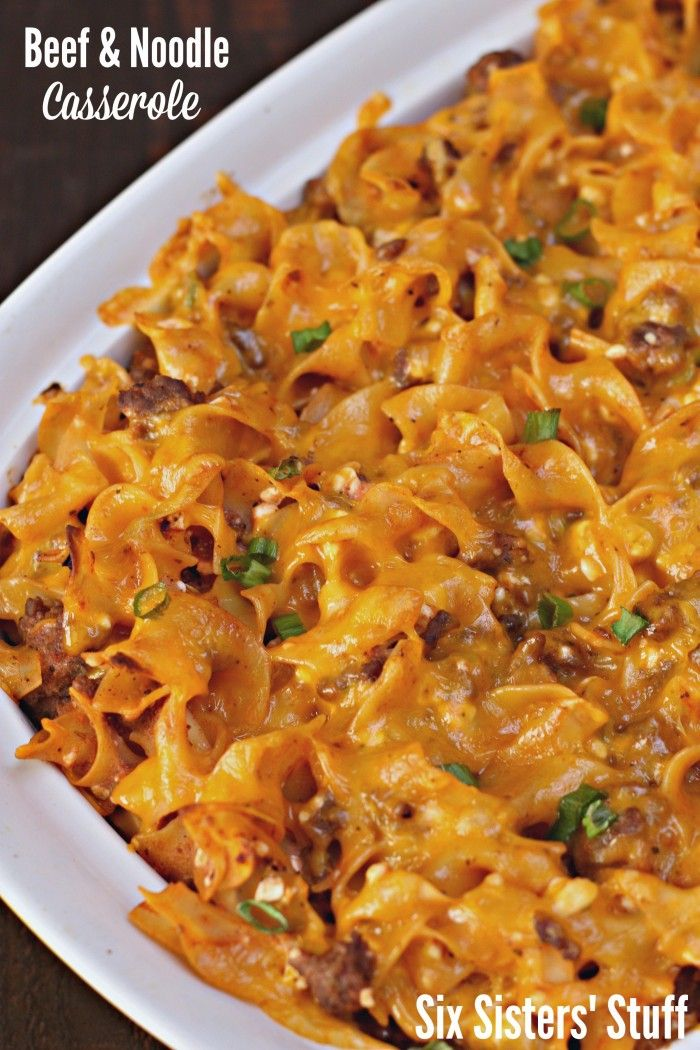 Beef and Noodle Casserole Recipe from SixSistersStuff.com- perfect weeknight meal because it can be thrown together in a matter of minutes!