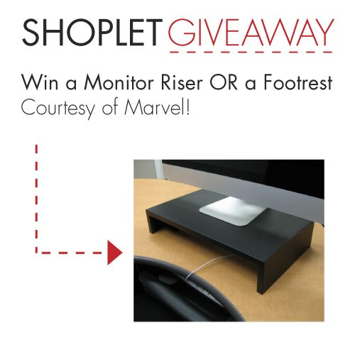 4.281 WIN A Monitor Riser OR a Footrest, Courtesy of Marvel!Favorite Places, 4 281 Win, Shoplet Giveaways, Shoplet Offices, 2014, Fun Stuff, Monitor Risers, Shoplet Blog, Offices Supplies