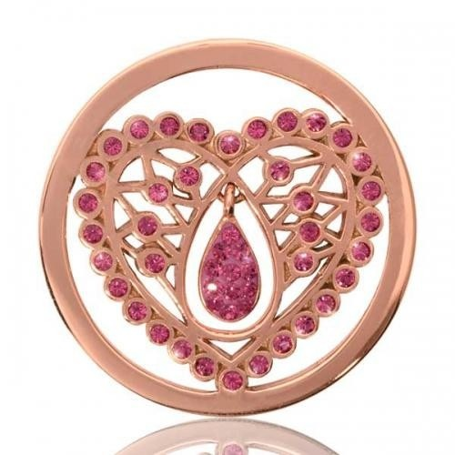 Nikki Lissoni Coin, Rose Gold Pink Indian Heart