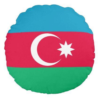 #Azerbaijan Flag Round Pillow - #country gifts style diy gift ideas