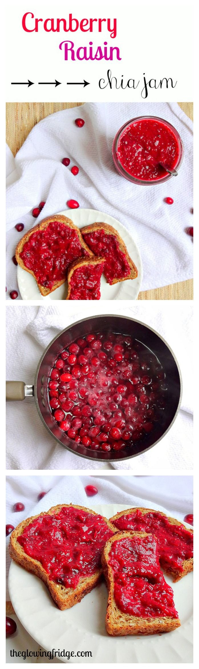 Cranberry Raisin Chia Seed Jam - Seasonal and Vegan Superfood Jam! Super easy to make and tastes amazing on toast, in oatmeal, on crackers or on it's own with a spoon! From The Glowing Fridge