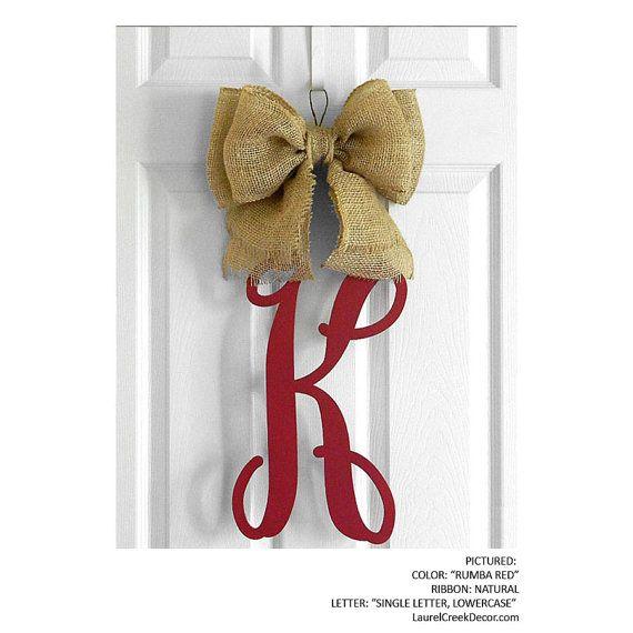 Monogram Door Hanger with Wooden Initials in Script with Burlap Bow - Front Door Letters - Wall Hanging