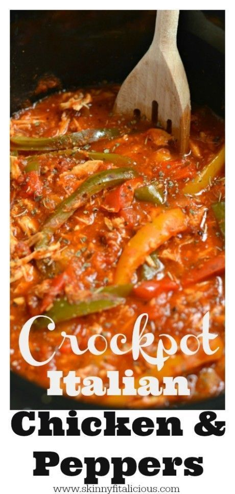 This Crockpot Italian Chicken and Peppers is a healthy and delicious dinner that's super easy and customizable. It's gluten free, low calorie and has a Paleo option too. A weeknight dinner recipe the