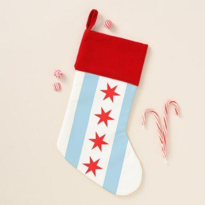 Christmas Stockings Flag of Chicago Illinois USA - christmas stockings merry xmas cyo family gifts presents