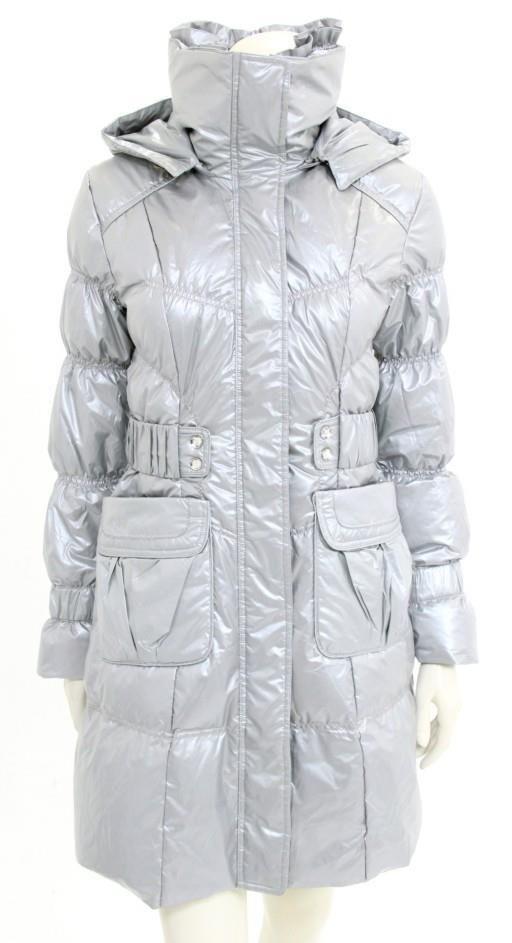 Moncler Silver Metallic Zip-Up Hooded Long Puffer Coat Size 2 NEW #Monclear #Puffer