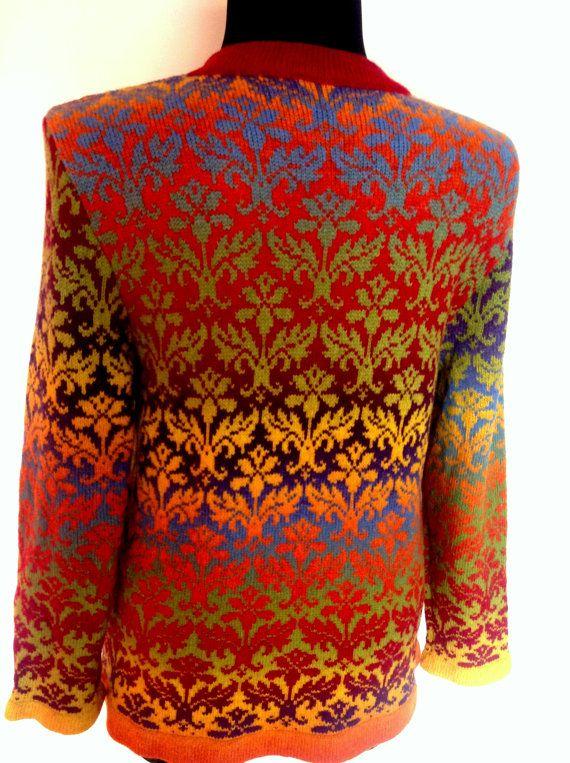 Cardigan arcobaleno fair isle a maglia da filati di lana, pronto da indossare