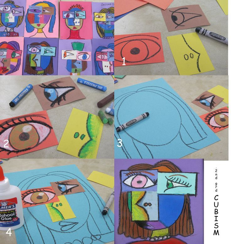 2nd grade cubism-oil pastels--like the ways the facial features are done individually and THEN arranged on the page. Smart!