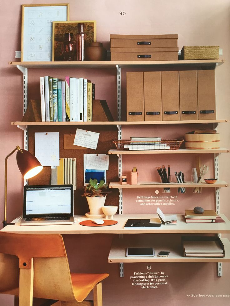 Adjustable shelves creates an orderly home office