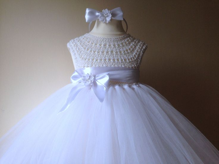 White Flower girl dress, tutu dress, bridesmaid dress, princess dress, crochet…