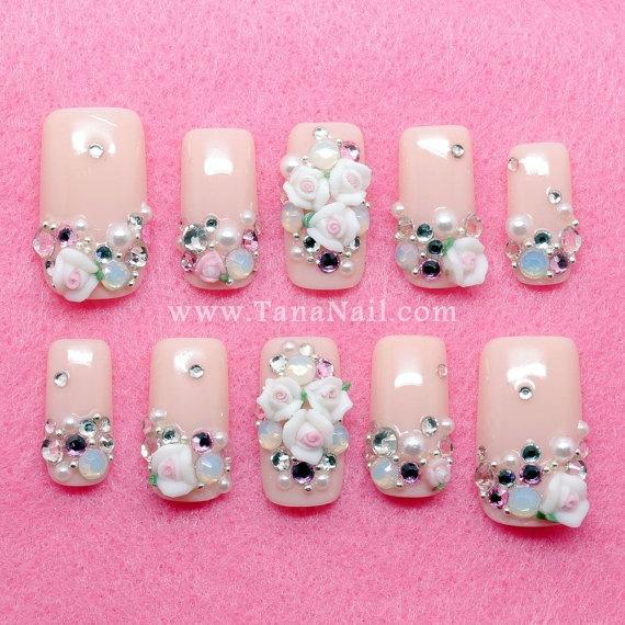 Japanese 3D Nail Art - Little White Flower & rhinestones with nude color polish (T108K). $29.00, via Etsy.