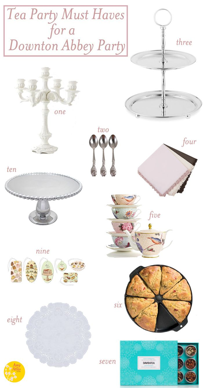 Tea Party Must Haves for a Downton Abbey Party.