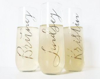Personalized Stemless Champagne Flutes / Bridesmaid by RachelCarl
