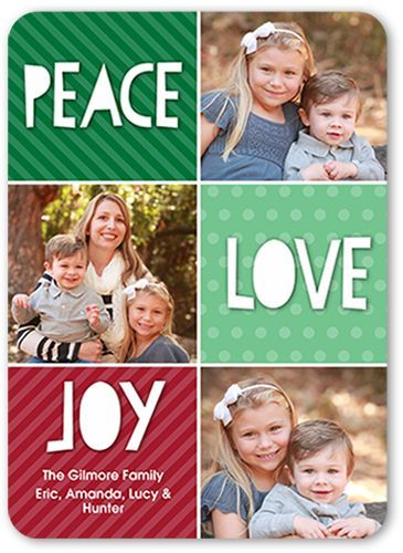 Fun Color Blocks Christmas Card, Rounded Corners, Green