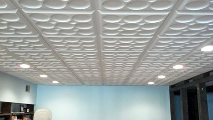 "Talk about a major style update!! ~ Using Ceilume's Roman Circle White ceiling tiles, you can get this look for your home or office too! ""We absolutely love the ceiling tile, it installed super easy and looks fabulous. Thanks to everyone at the company, everything from ordering samples to installation was excellent!"" -Kassy J. #Office #Ceilume #Ceiling #Tiles http://www.ceilume.com/"