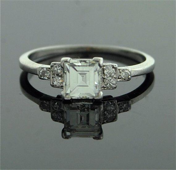 Antique Engagement Ring - Asscher Cut Diamond in Platinum Setting