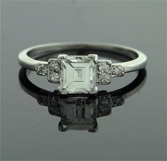Antique Engagement Ring  Asscher Cut Diamond in by SITFineJewelry