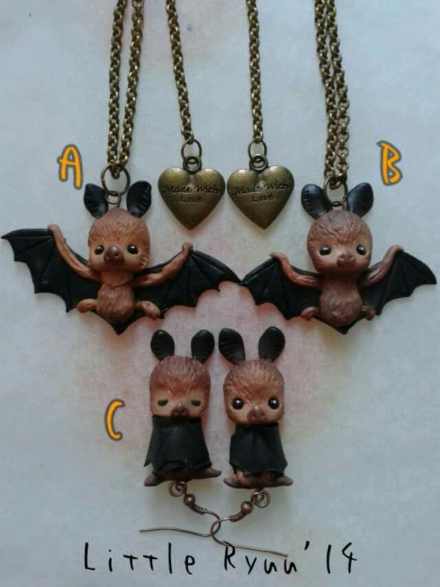 Cute bats, fimo bijoux