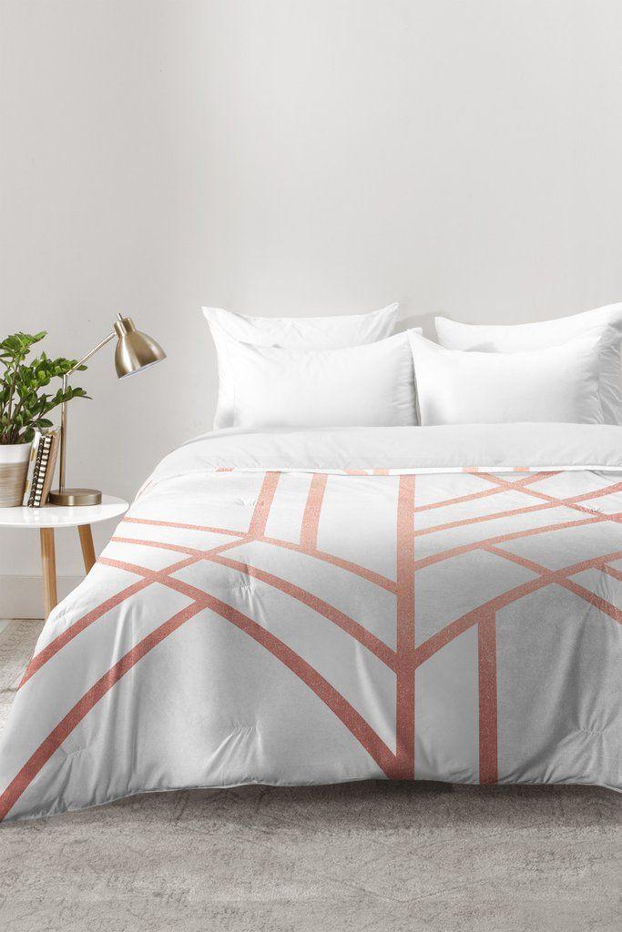 Elisabeth Fredriksson Art Deco Rose Gold Comforter   DENY Designs Home Accessories