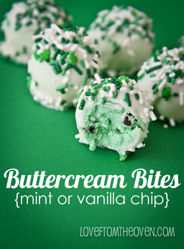 Buttercream Bites - no cake, just the frosting!  In mint or vanilla chocolate chip.  By @lovefromtheoven