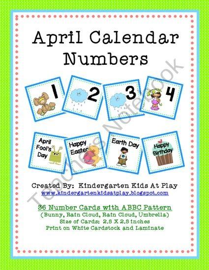 April Calendar Pieces Kindergarten : April calendar numbers with patterns from kindergarten