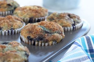 Blueberry Buttermilk Muffins- The buttermilk gives the muffin a moist and fluffy texture. Any type of berry can be used.