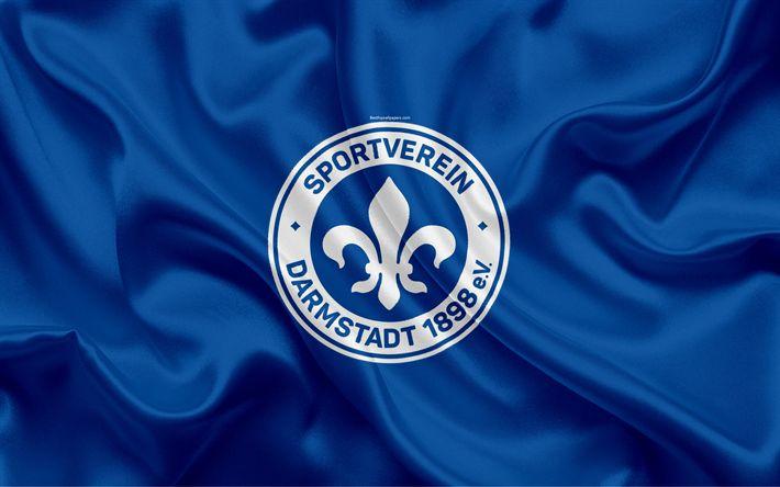 Download wallpapers SV Darmstadt 98, 4k, silk flag, German football club, logo, emblem, 2 Bundesliga, football, Darmstadt, Germany, Second Bundesliga, Darmstadt FC