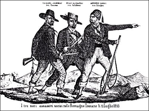I tre noti assassini uccisi nelle Romagne Toscane li 11 luglio 1853 (Cesarino, Calabrese, Lisagna)