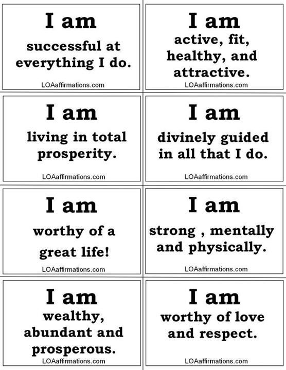Law of Attraction - Affirmation Cards. We attract how we act. Are you acting abundant, or poor?