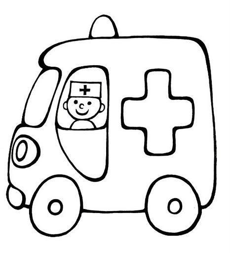 "Coloriage simple ""Ambulance"""