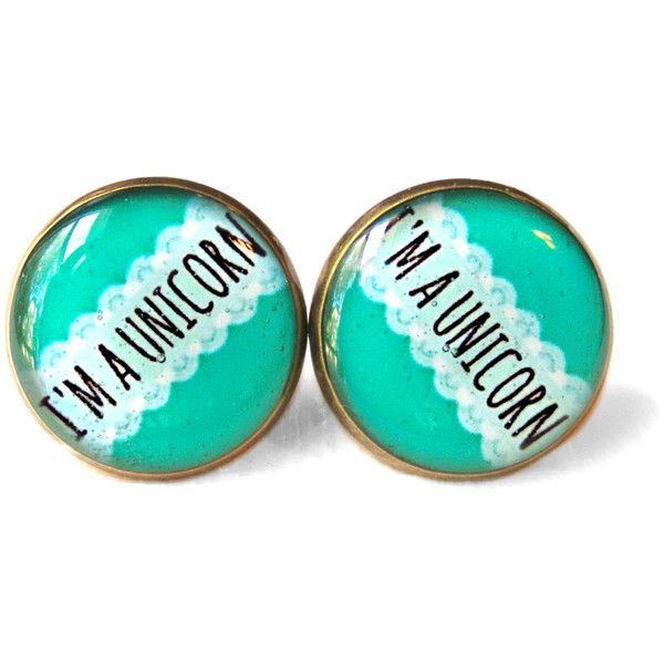 Creepy Cute Nu Goth Bubblegum Mint i'm a unicorn Funny Earring, 90s... found on Polyvore