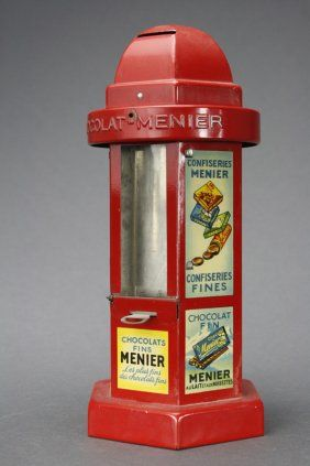"Vending Bank - ""Chocolate Menier"" Domed Mechanical Bank : Lot 520"
