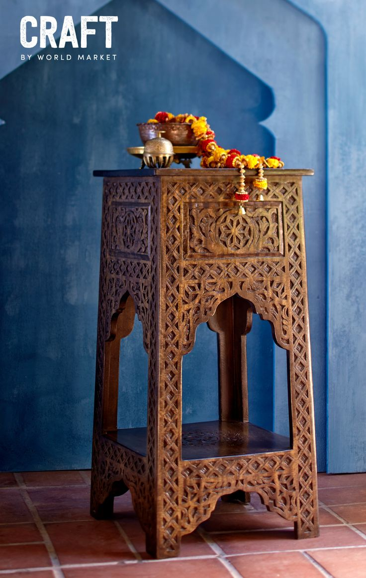 Rest your books, drinks or candles on this Mango Wood Side Table inspired by traditional Indian furniture Made in India; available for a limited time only.